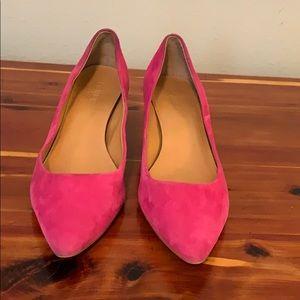 J. Crew Bright pink suede kitten heels